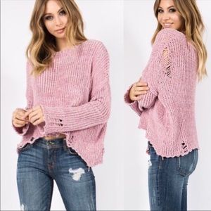 Destructed Chenille Pullover